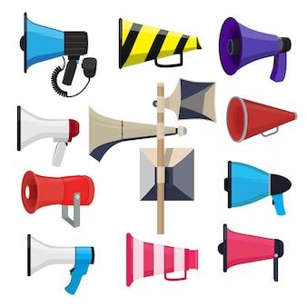 Verschillende luidsprekers. symbolen voor aankondiging