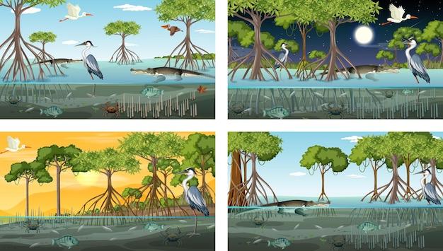 Verschillende mangroveboslandschapsscènes met dieren