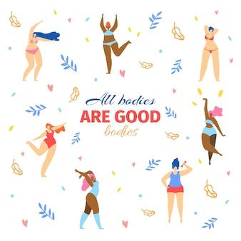 Verschillende maten en soorten vrouwen in bikini dansen