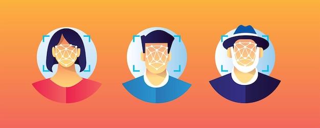 Verschillende mensen die een gezichtsherkenningsscan doen