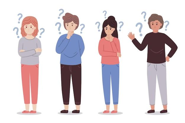 Verschillende mensen die geïllustreerde vragen stellen