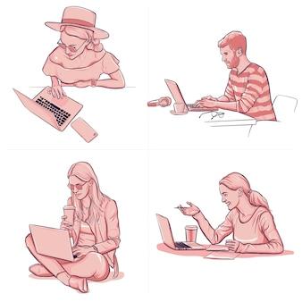 Verschillende mensen die op kantoor werken met behulp van laptop tekening