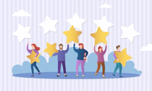 Verschillende mensen geven feedbackbeoordelingen en recensies. personages houden sterren boven hun hoofd. evaluatie van klantrecensies. vijf sterren. klanten die een product, dienst evalueren.