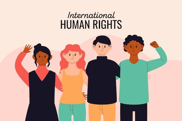 Verschillende mensen houden mensenrechten bij elkaar