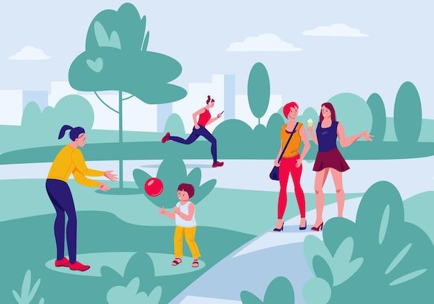 Verschillende mensen in het zomerpark die recreatieve buitenactiviteiten uitvoeren