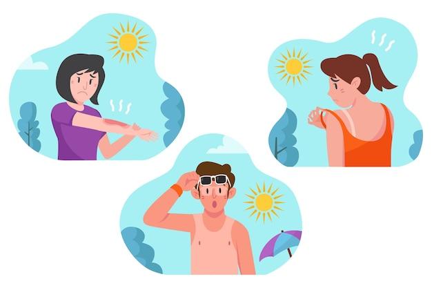 Verschillende mensen met een zonnebrandcollectie