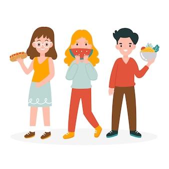 Verschillende mensen met voedsel
