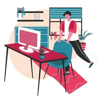 Verschillende mensen oefenen in het concept van de werkplekscène. man verhoogt en strekt benen met stoel, trainingspauze. kantoor werk mensen activiteiten. vectorillustratie van karakters in plat ontwerp
