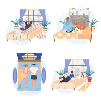 Verschillende mensen ontspannen in gezellige slaapkamerconceptscènes instellen vectorillustratie van karakters