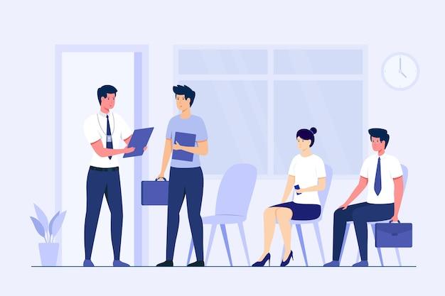 Verschillende mensen wachten op hun beurt in een sollicitatiegesprek