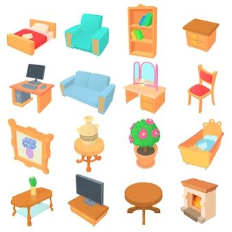 Verschillende meubels pictogrammen instellen