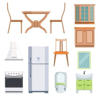 Verschillende meubels voor woonkamer en keuken.