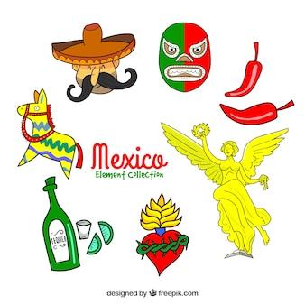 Verschillende mexico elementen collectie