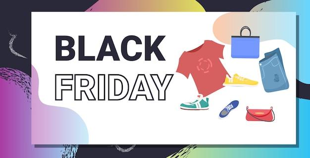 Verschillende mode kleding zwarte vrijdag grote verkoop promotie korting concept horizontale vectorillustratie