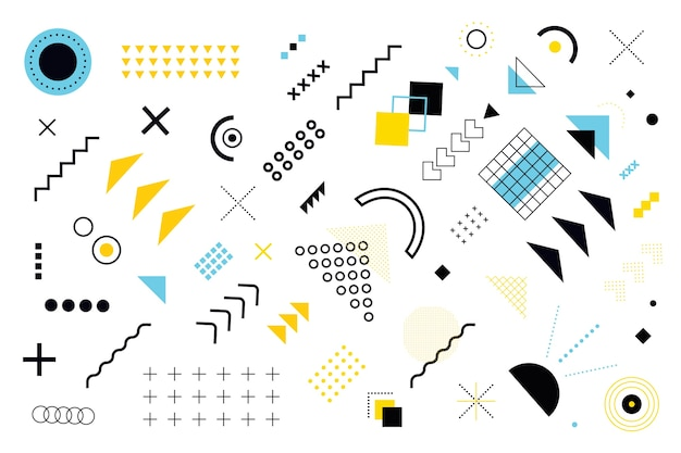 Verschillende modellen en geometrische vormen achtergrond