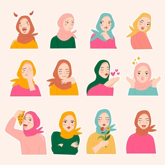 Verschillende moslimvrouwen dragen hijab in verschillende uitdrukkingen. sticker set gezicht.