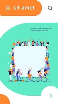 Verschillende multiculturele mensen in menigte platte vectorillustratie