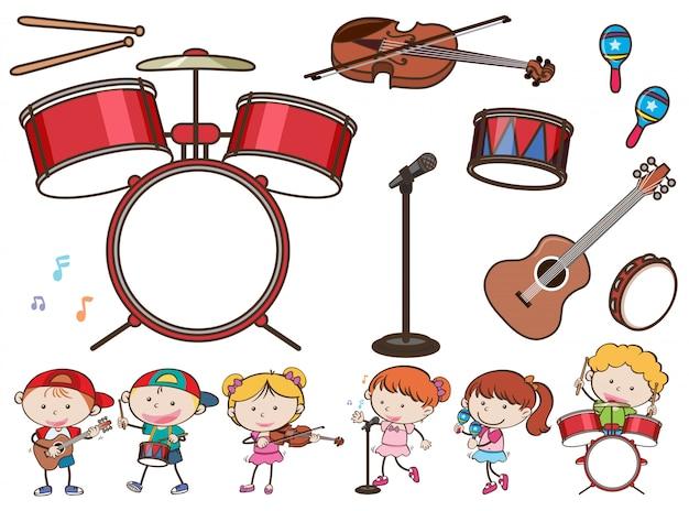 Verschillende muziekinstrumenten en kinderen