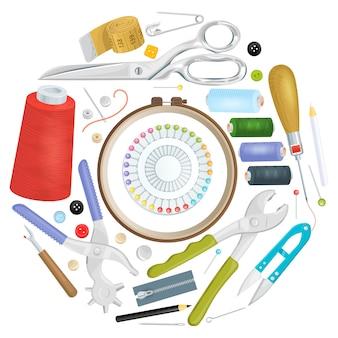 Verschillende naaihulpmiddelen gevouwen in vormcirkel, heldere reclameaffiche voor het naaien van studioontwerp, vlakke stijlillustratie.