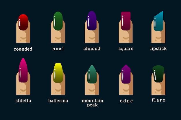 Verschillende nagel vormen en pools kleuren vector iconen
