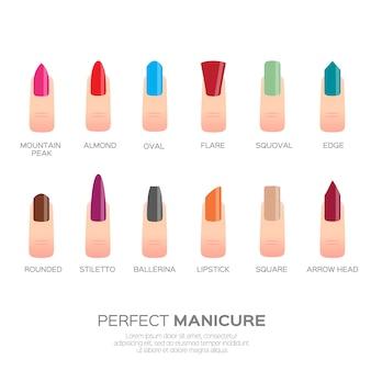 Verschillende nagelvormen. vrouw vingers. vingernagels modetrends.