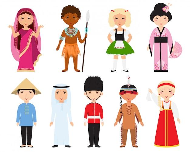 Verschillende naties mensen vector.