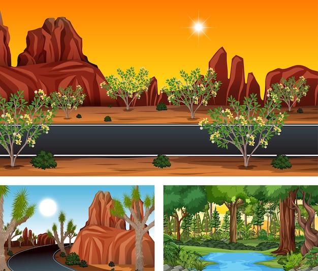 Verschillende natuur horizontale scènes