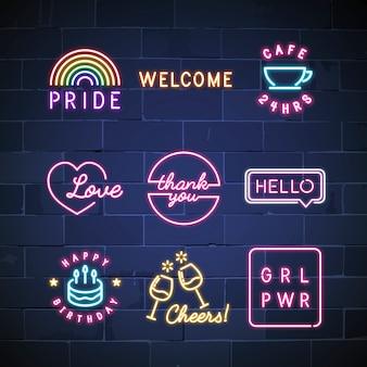 Verschillende neon borden vector set