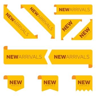 Verschillende nieuwe aankomst gele linten platte pictogrammenset om uw web te versieren