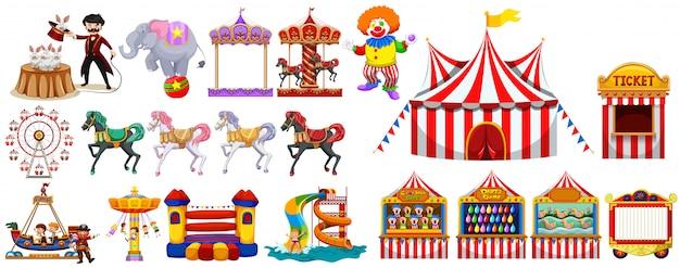 Verschillende objecten uit het circus