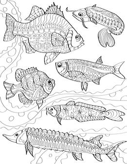 Verschillende oceaanvissen zwemmen tegen de stroming in kleurloze lijntekening gemeenschap van vissen