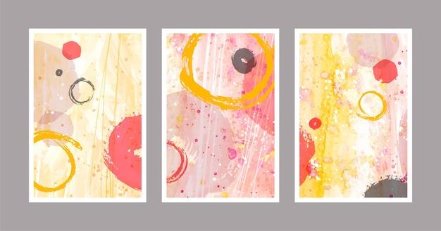 Verschillende omslagen met verschillende aquarelvormen