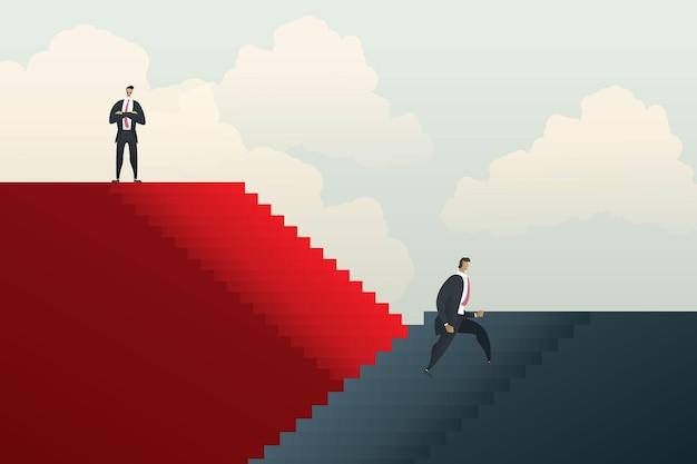 Verschillende ongelijke carrièremogelijkheden tussen mensen uit het bedrijfsleven. illustratie vector