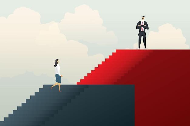 Verschillende ongelijke carrièremogelijkheden tussen mensen uit het bedrijfsleven. illustratie vector Premium Vector