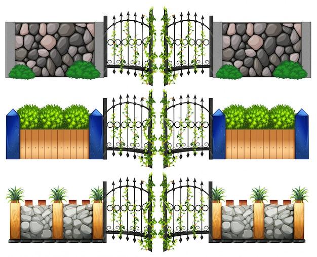 Verschillende ontwerp voor poorten en muren