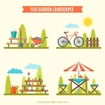 Verschillende ontwerpen over tuinlandschappen