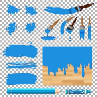 Verschillende ontwerpen van aquarel in blauw op witte achtergrond