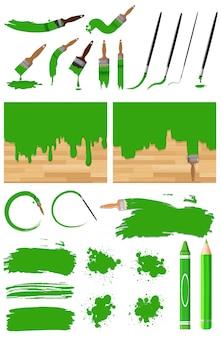 Verschillende ontwerpen van aquarel in groen op witte achtergrond