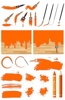 Verschillende ontwerpen van aquarel in oranje op witte achtergrond
