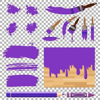 Verschillende ontwerpen van aquarel in paars op witte achtergrond