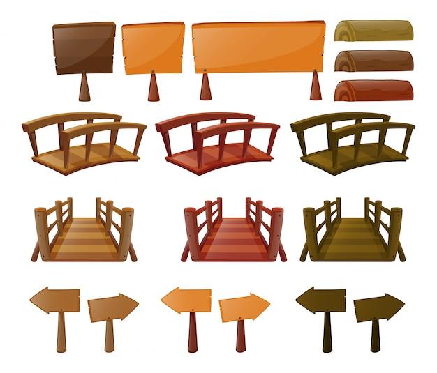 Verschillende ontwerpen van bruggen en borden