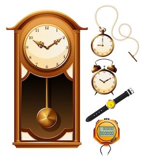 Verschillende ontwerpen van de klok illustratie