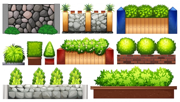 Verschillende ontwerpen van de muur en hek