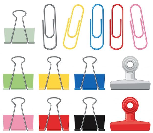 Verschillende ontwerpen van paperclips in veel kleuren