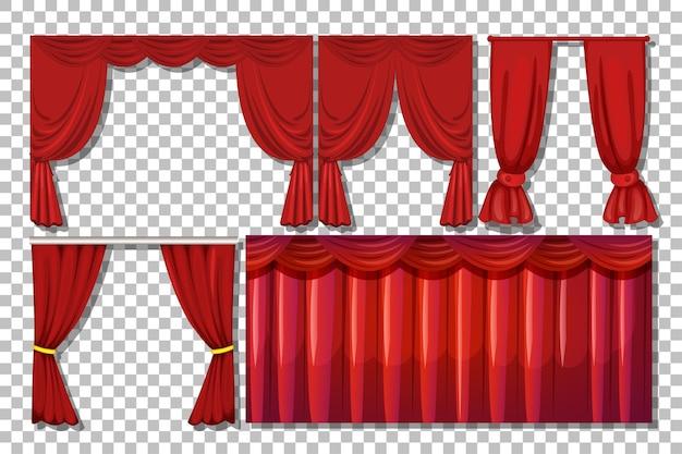 Verschillende ontwerpen van rode gordijnen geïsoleerd