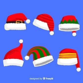 Verschillende ontwerpen voor de hoedencollectie van santa