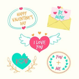 Verschillende ontwerpen voor valentijnsdag badges