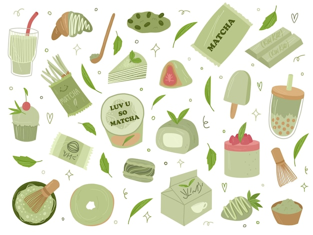 Verschillende organische matcha thee designelementen. matcha latte, cupcake, broodje, poeder, bitterkoekjes, thee. vector hand getekende cartoon afbeelding. alle elementen zijn geïsoleerd.
