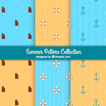 Verschillende patronen met zomerobjecten in vlakke vormgeving
