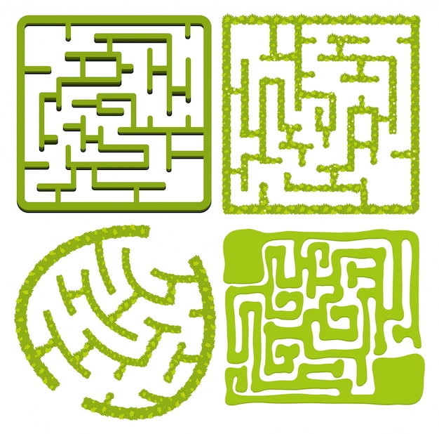 Verschillende patronen van doolhofspel in groene kleur